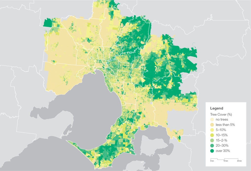 Figure 11 Tree canopy cover is lower in Melbournes northern and western suburbs 300dpi 1
