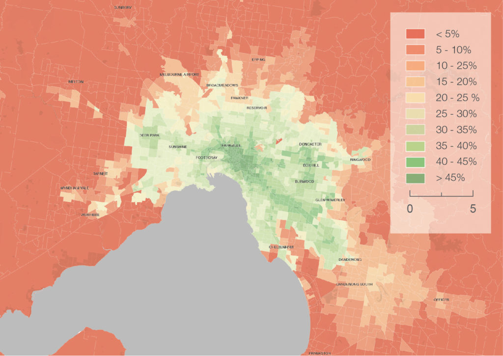 Figure 25 Outer suburbs and new growth areas are projected to have lower access to jobs by public transport 300dpi 1